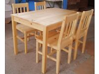 Solid Pine Table With Four Chairs - LOCAL FREE DELIVERY