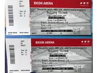 2 tickets Rolling Stones at Ricoh Coventry. Face value or near offers. Price listed is per ticket.
