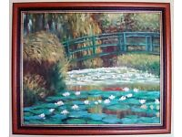 ****Monet Oil Hand Painting Reproduction of Water Lily Pond - Mahogany Frame****