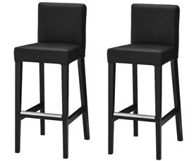Set of 2 Bar Stools Bar IKEA HENRIKSDAL (£198 value). Padded Black Leather, Brand NEW