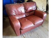 Brown Soft Leather Two Seater Sofa
