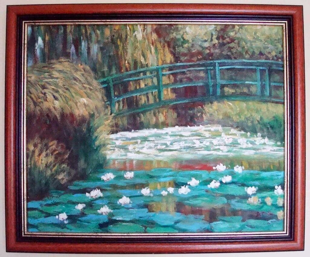 ****Oil painting Hand painting reproduction of Water Lily Pond of Monet - mahogany frame****