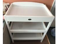 White wooden baby changing table