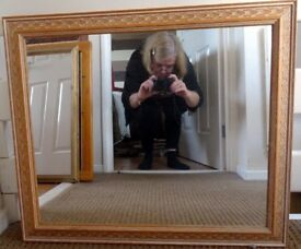 Lovely Large Terracotta Framed Mirror in Good Condition 24 x 28 inches