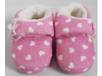 Brand New Children's Size 6 Pink & White Heart Print Booties Slippers By George
