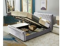 PLUSH VELVET SLEIGH OTTOMAN STORAGE BED KING SIZE BED FRAME w OPT MATTRESS & CHEST OF DRAWERS.