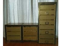 4-Drawer filing cabinet with 2 matching 2-Drawer pedestals