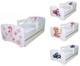 JUNIOR TODDLER white BED WITH DRAWER AND SAFETY REMOVABLE RAILS FREE MATTRESS