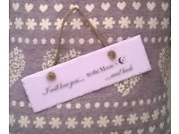 Pink Slate Wall Hanging I will love you to the Moon and back Plaque 12 x 4inch £5