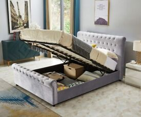 PLUSH VELVET DOUBLE AND KING SIZE SLEIGH STORAGE BED FRAME