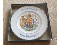 Queen Elizabeth II Silver Jubilee 1952-1977 boxed commemorative china plate