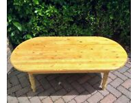 Solid large oval pine coffee table