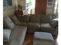 Large Grey Fabric Corner Sofa With Footstool! Can Deliver!!