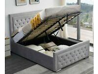 Furniture On Sale-DOUBLE SIZE PLUSH VELVET HEAVEN OTTOMAN STORAGE BED FRAME w OPT MATTRESS-call now