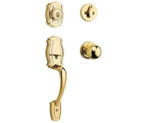 NEW Weiser Heritage Single Cylinder Handle Set featuring SmartKey in Bright Brass