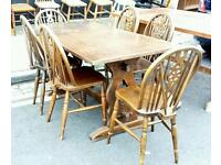 Vintage solid oak Jaycee dining table and 6 wheelback chairs