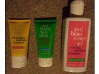 Body scrub, body cream/lotion, shower gel bath and body set