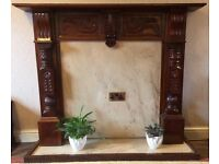Fire Place/Surround and Hearth - Dark Wood
