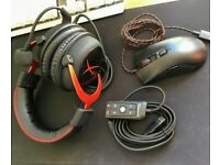 Mouse Hyperx Pulsefire + Gaming Headphones