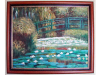 *** Oil Painting - Hand Painting Reproduction of Water Lily Pond of Monet - Mahogany Frame ***