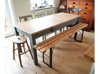 rustic vintage farmhouse table. kitchen table. rustic table. painted table.(1468)