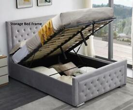 Smart Furniture-Plush Velvet Heaven Ottoman Storage Bed Frame in Grey Color