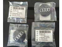 4 x Black AUDI OEM CENTRE CAPS 60mm alloy wheel center Badges