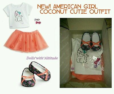 NEW American Girl Coconut Cutie Outfit COMPLETE SET Orange Skirt Shoes Barrettes