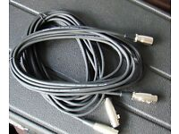 "6 metre professional (High Grade) Microphone cables x 2 (unused, ""as new"")"