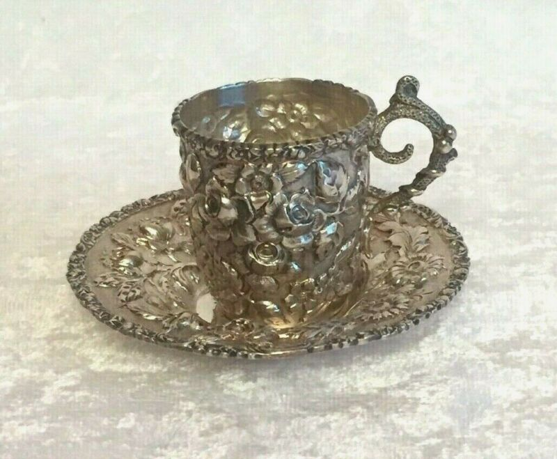 Sterling Silver ROSE Demitasse Cup & Saucer Baltimore Silver Co 1892-1900 RARE