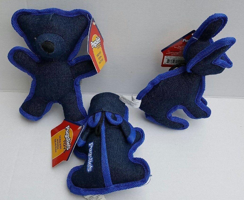 Pugslie's Set of 3 Assorted Denim Dog Toys