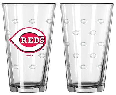 Cincinnati Reds Satin Etch Pint Glass Set of 2 [NEW] MLB Drink Bar Cup Mug 16oz