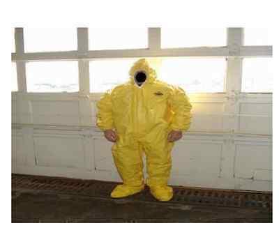 Lakeland 70150 3xl Coveralls Yellow Hood Suit Dupont Tyvek Qc Tychem Hazmat