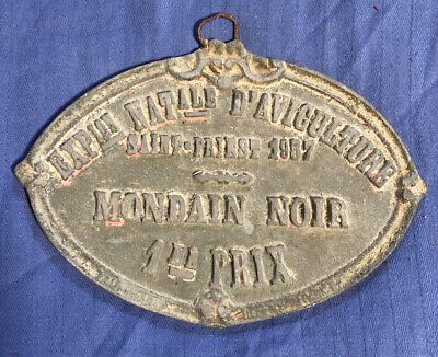 Antique French Agricultural Metal Plaque - 1957 Pigeon Mondain Noir 1st Prize