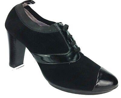Johnston & Murphy Lani Black Suede Elastic Oxford Cap Toe Heels Womens shoes 6.5 Cap Toe Oxford Heels
