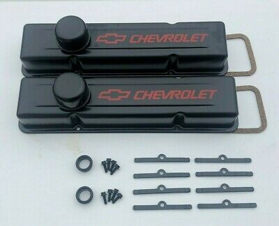 Chevy Valve Covers Steel Covers TALL Black KIT SBC 283 327 350 383 Small Block