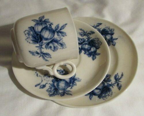 Rare Antique 3 Irish Belleek porcelain ring handle cup, saucer& plate black mark