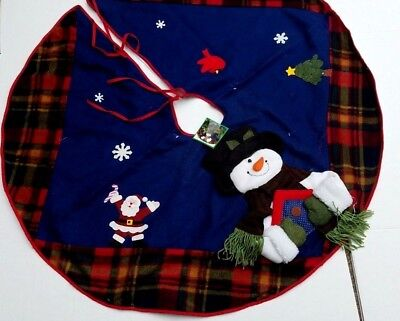Christmas Tree Skirt Snowman Santa Snowflake Red Bird Plaid Fleece Soft 3D 44""