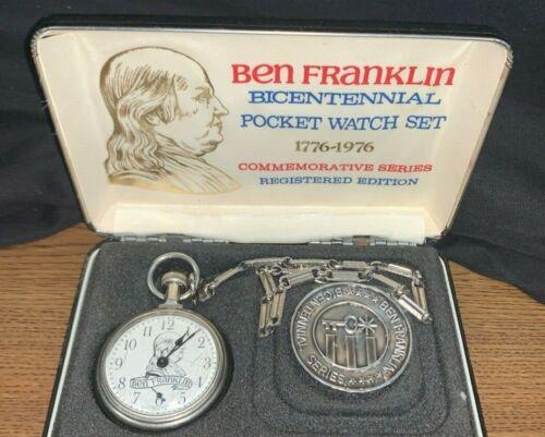 Ben Franklin Bicentennial Pocket Watch Set Silver 1776-1976 Collectible