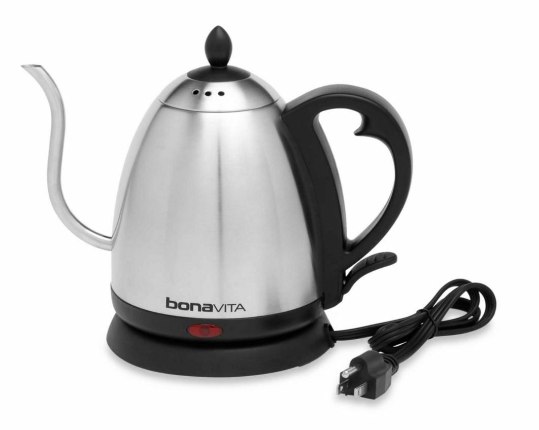Bonavita Hot Water 1-Liter Electric Gooseneck Tea Coffee Kettle Stainless Steel