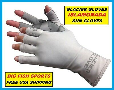 GLACIER ISLAMORADA FINGERLESS FISHING SUN GLOVES Size EXTRA LARGE #079GY +50UPF