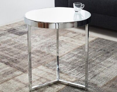 Glastisch Beistelltisch rund weiss modern LILLE 50cm chrom Couchtisch Milchglas - Chrome Moderne Beistelltisch