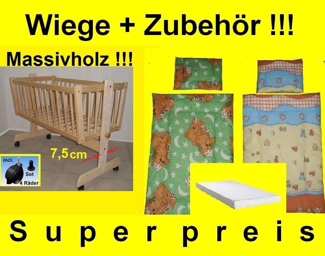 BabyWiege Stubenwagen Komplett Set Matratze Kissen Decke  Massiv NEU Angebot!!