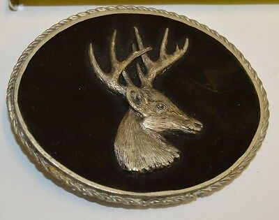 Vintage Custom Signed DEER Hunter Black Large Pewter Belt Buckle (Custom Pewter Belt Buckles)