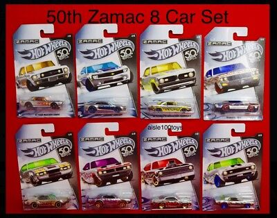 Hot Wheels 50th Anniversary ZAMAC 8 Car Set Exclusive Camaro, Mustang  RLC 2018