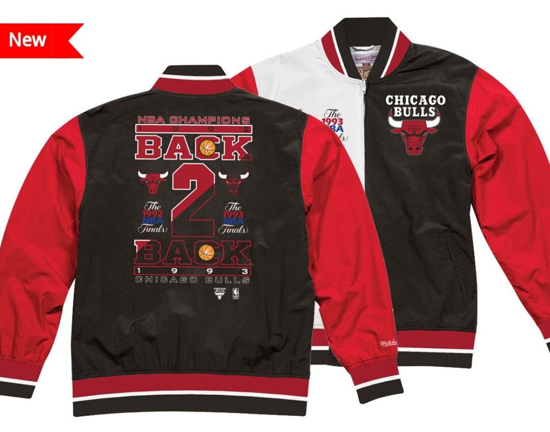 Authentic NBA Mitchell   Ness Split Chicago Bulls Back to Back warm up  Jacket 401aa3d6086