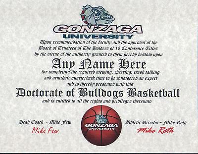 Gonzaga Basketball Fan Certificate   Diploma   Gift  Man Cave  Great Gift