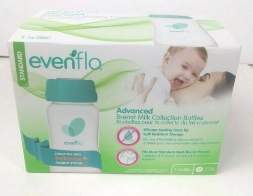 Evenflo Advanced Breast Milk Collection Bottles BPA FREE 6 Pack 5oz