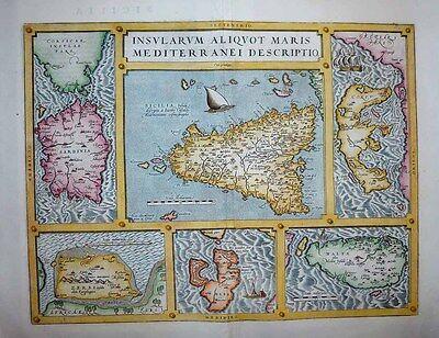 1603 Ortelius 6 Part Mediterranean Map SICILY MALTA CORFU SARDINIA ELBA DJERBA