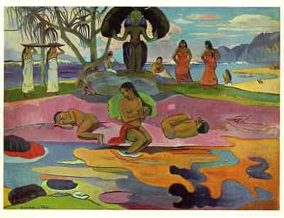 """GAUGUIN ORIGINAL VINTAGE 1972  LITHOGRAPH PRINT """" THE DAY OF THE GOD """" 1894"""